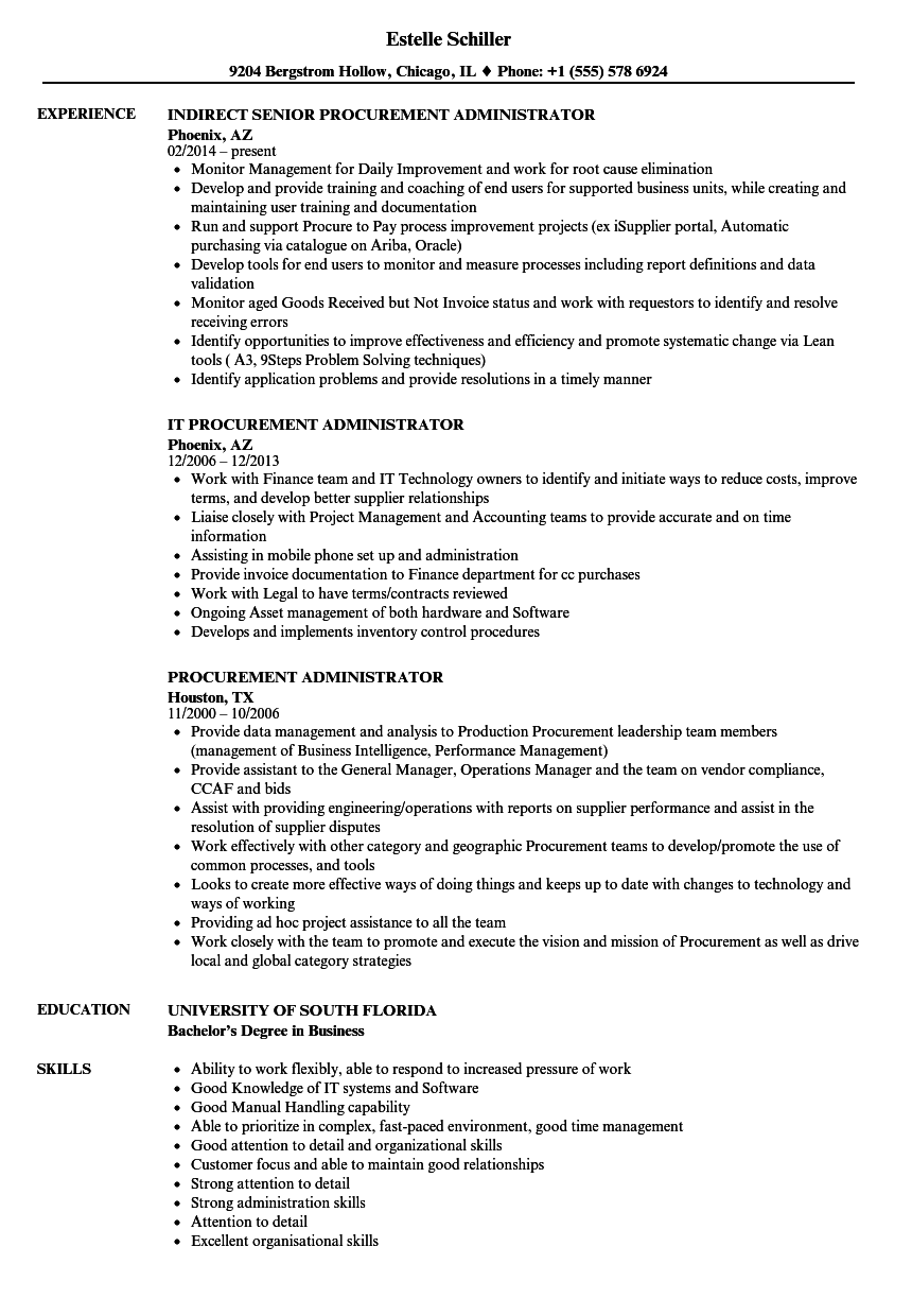 procurement administrator resume samples