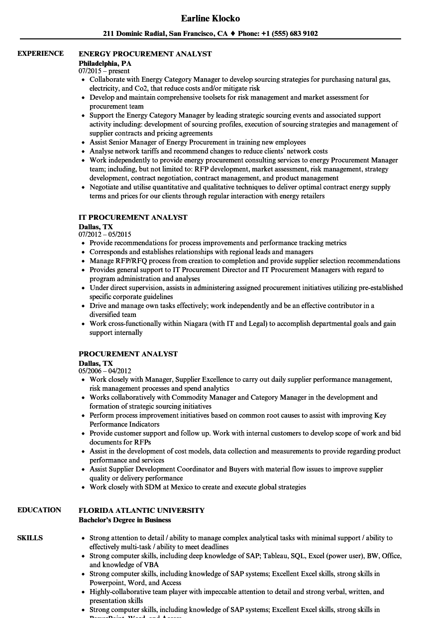 Procurement Analyst Resume Samples Velvet Jobs