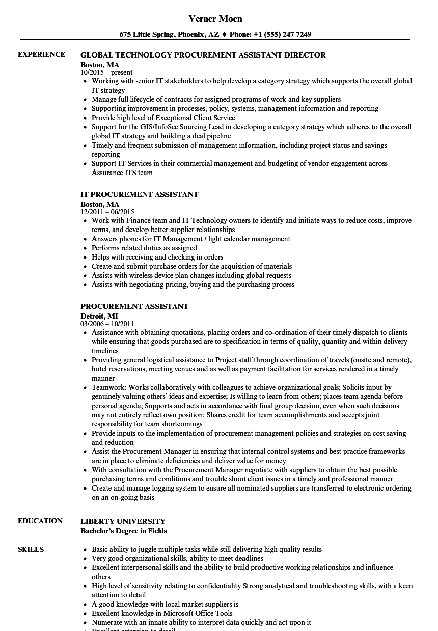 Procurement Assistant Resume Samples | Velvet Jobs