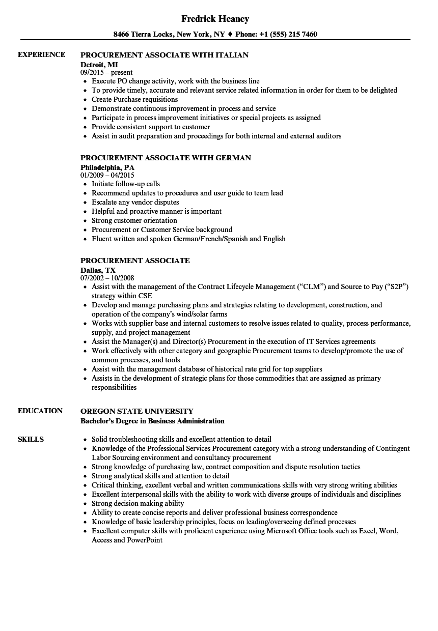 Procurement Associate Resume Samples | Velvet Jobs