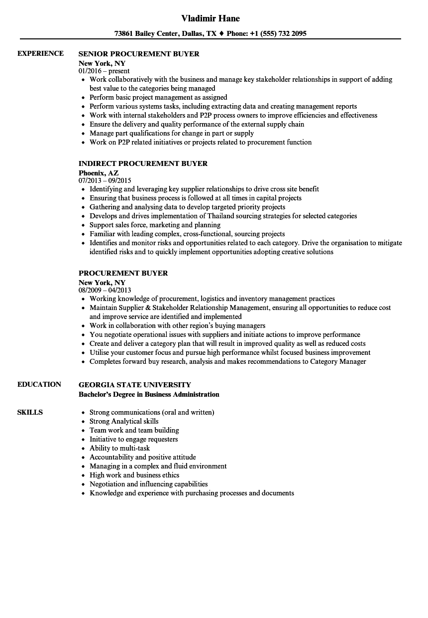 Procurement Buyer Resume Samples Velvet Jobs