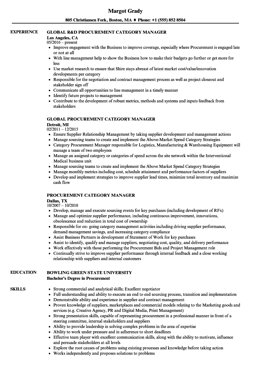 Procurement Category Manager Resume Samples | Velvet Jobs