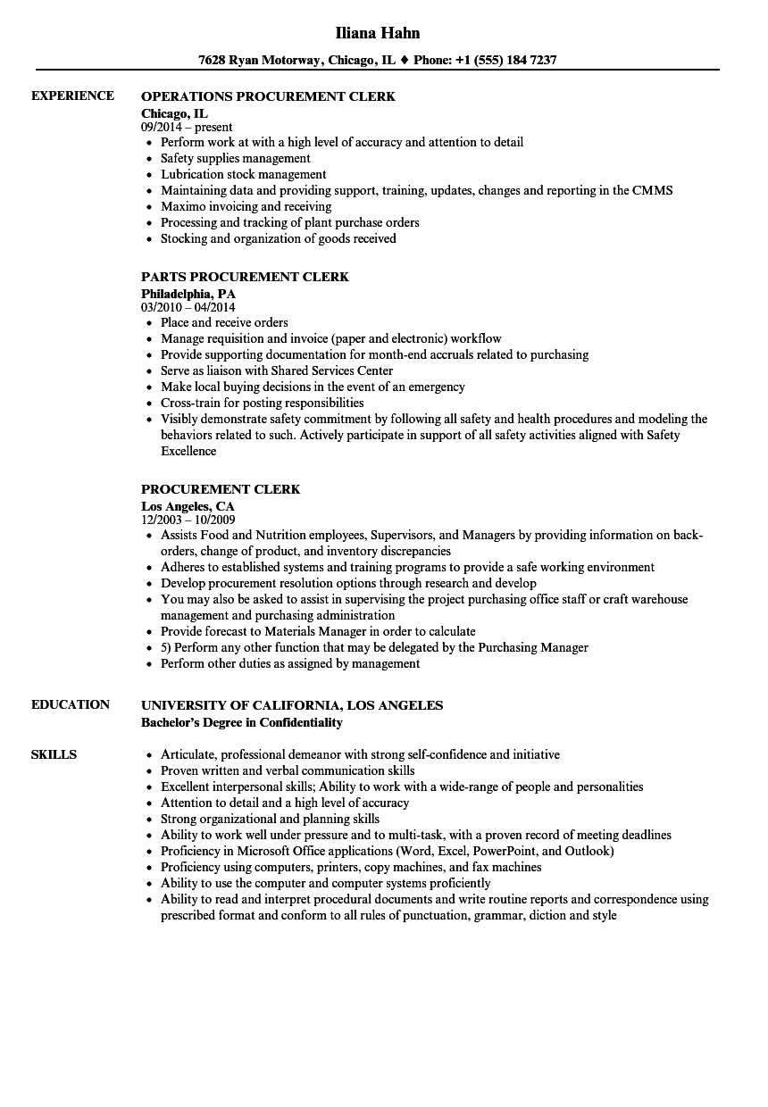 Procurement Clerk Resume Samples | Velvet Jobs