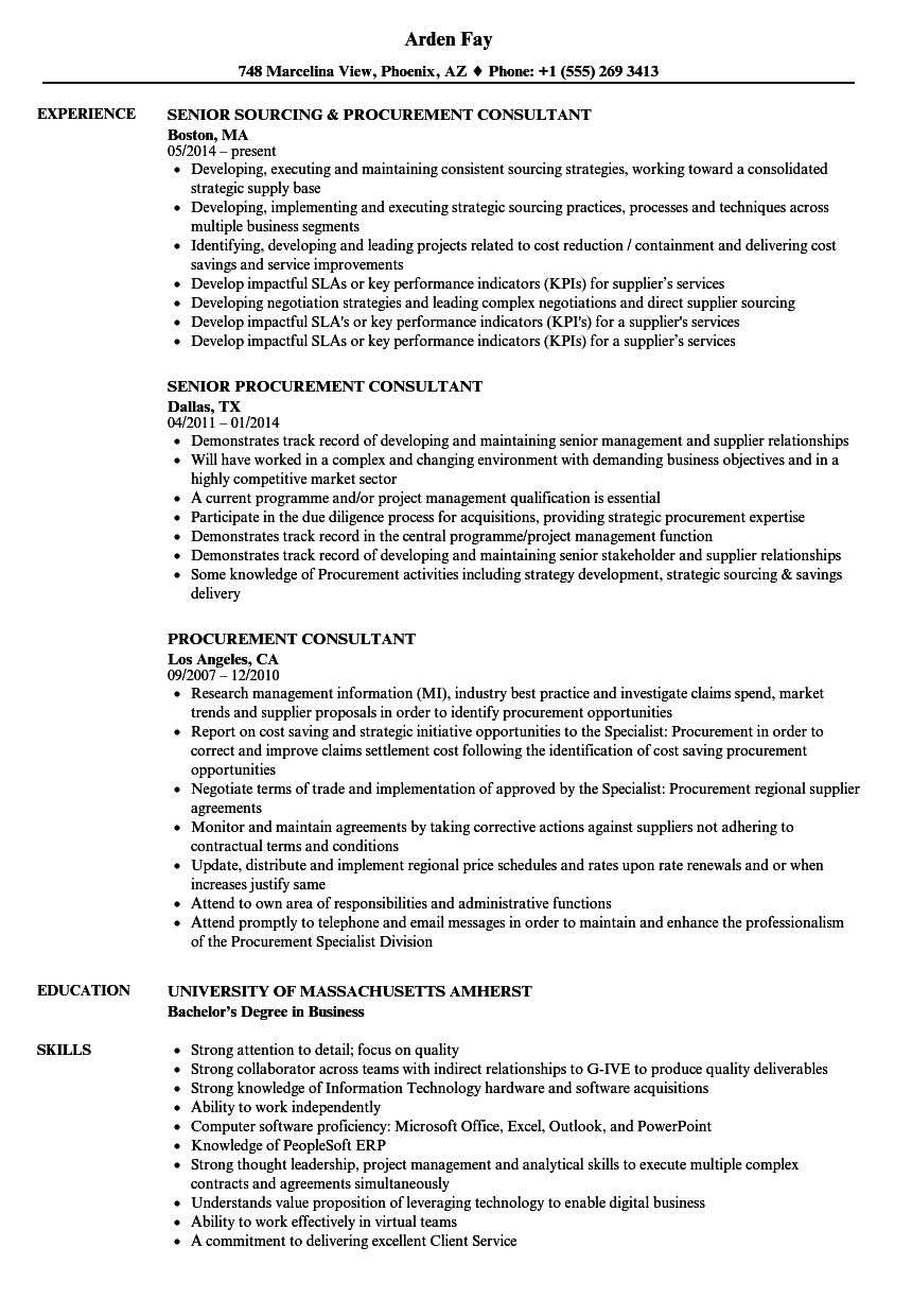 procurement consultant resume samples
