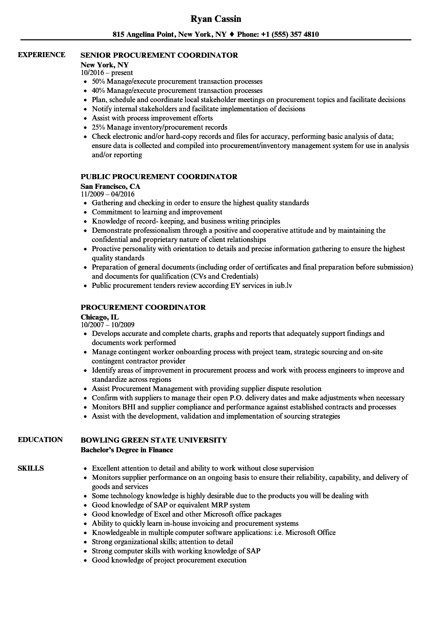 Procurement Coordinator Resume Samples Velvet Jobs