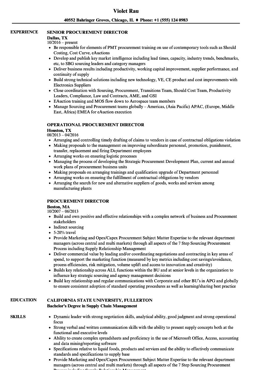 procurement director resume samples