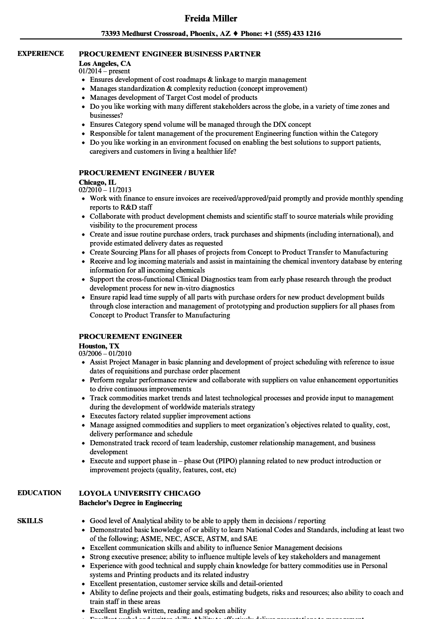 Procurement Engineer Resume Samples Velvet Jobs