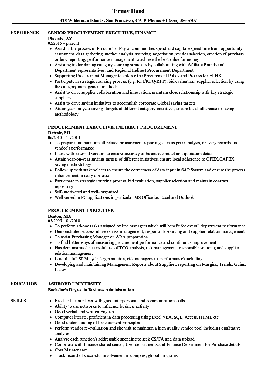 Download Procurement Executive Resume Sample As Image File