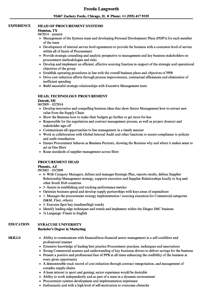 download procurement head resume sample as image file