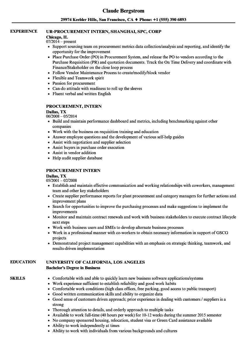 Procurement Intern Resume Samples | Velvet Jobs
