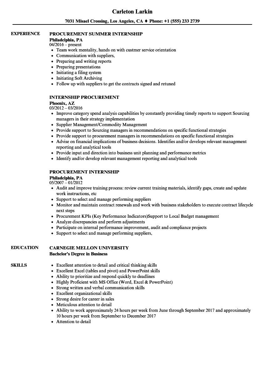Download Procurement Internship Resume Sample As Image File