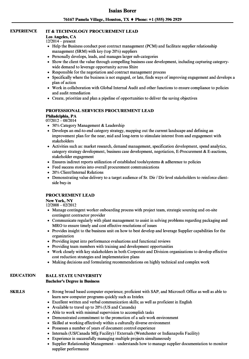 Procurement Lead Resume Samples Velvet Jobs