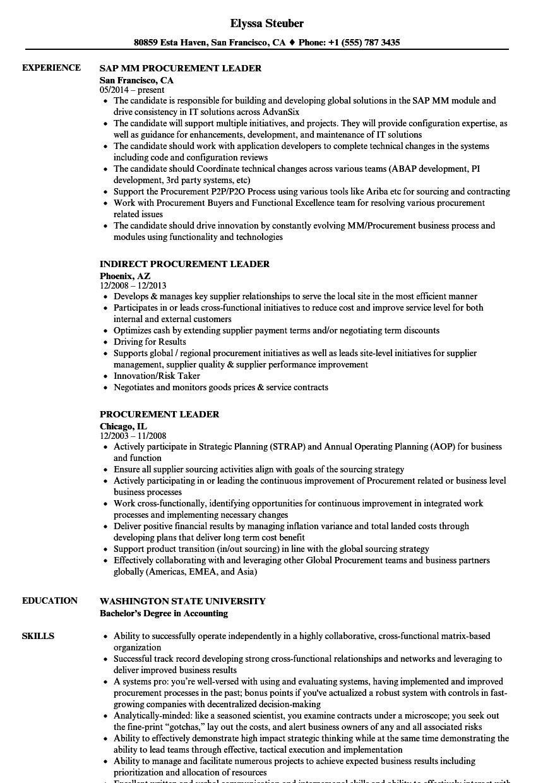 procurement leader resume samples