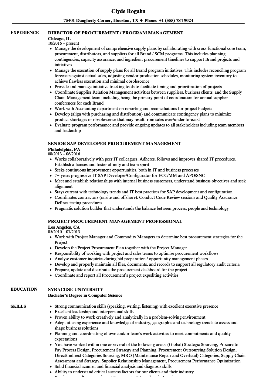 Procurement Management Resume Samples | Velvet Jobs