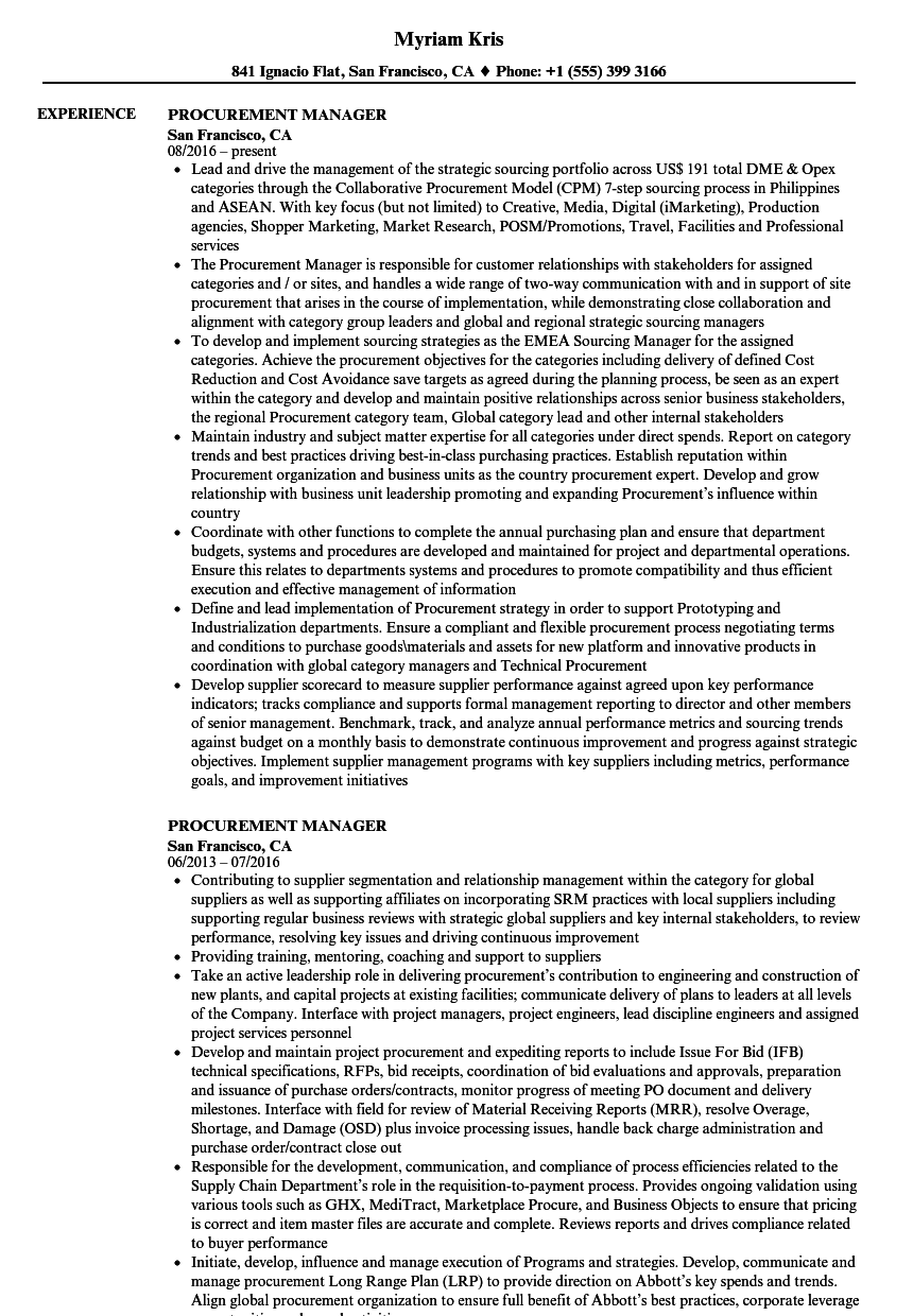 Procurement Manager Resume Samples | Velvet Jobs