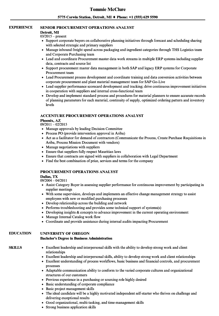 procurement operations analyst resume samples