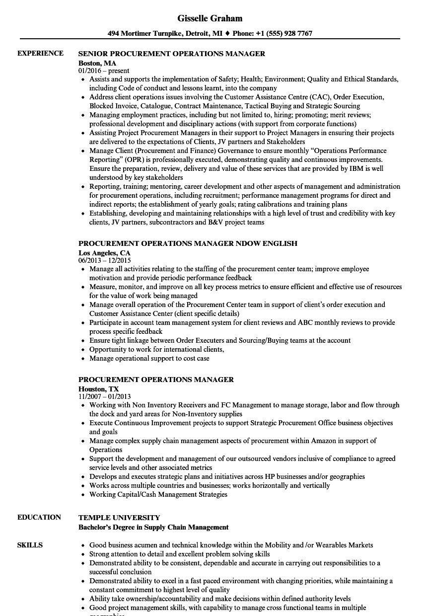 Procurement Operations Manager Resume Samples | Velvet Jobs