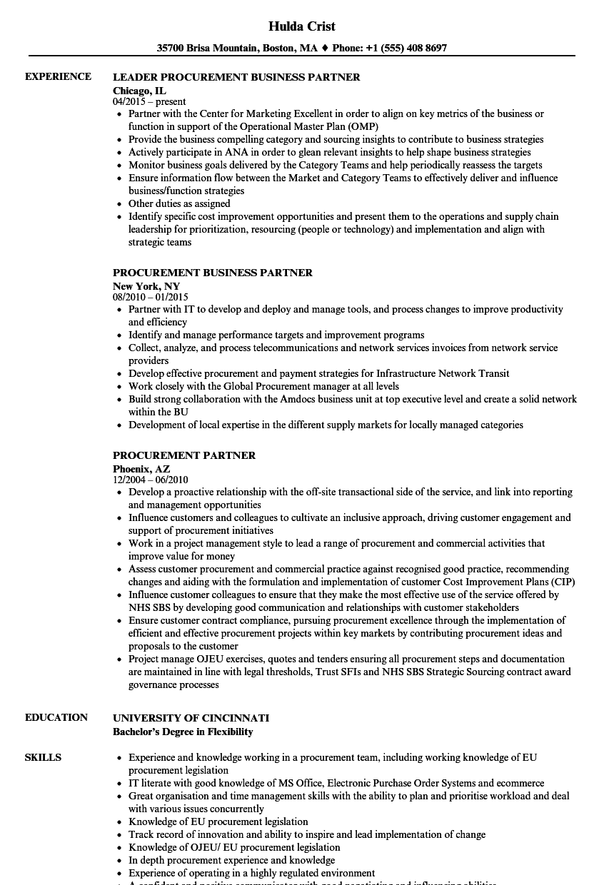 download procurement partner resume sample as image file