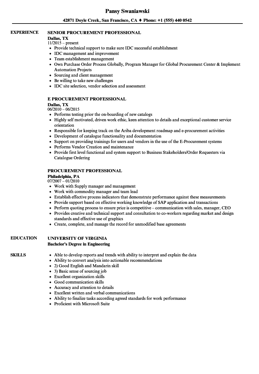 Procurement Professional Resume Samples | Velvet Jobs