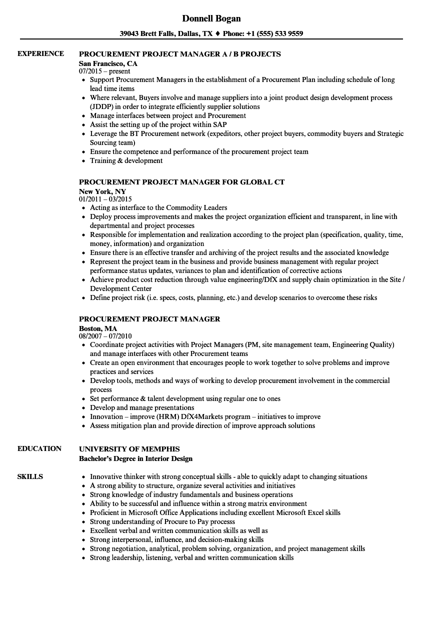 Procurement Project Manager Resume Samples Velvet Jobs