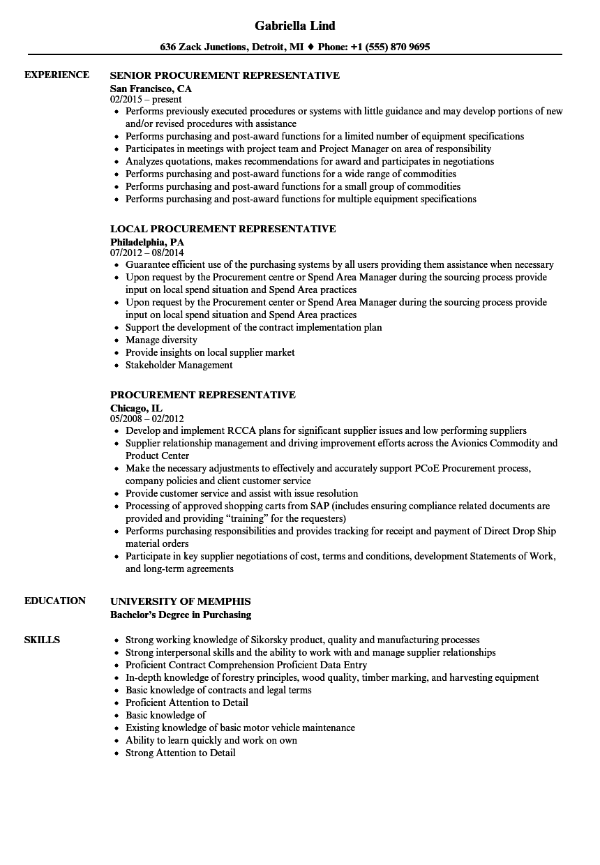Procurement Representative Resume Samples | Velvet Jobs
