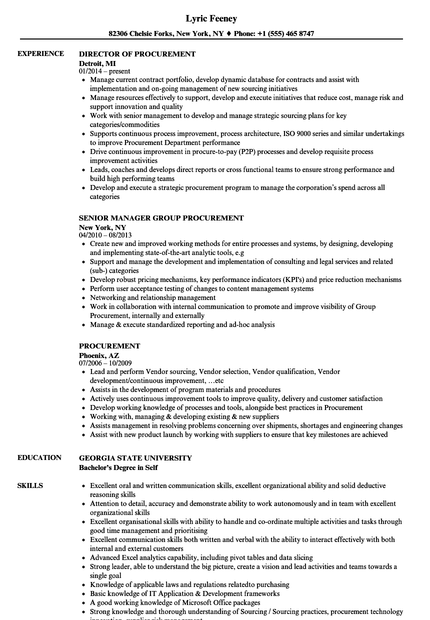Download Procurement Resume Sample As Image File