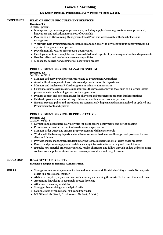 Procurement Services Resume Samples Velvet Jobs