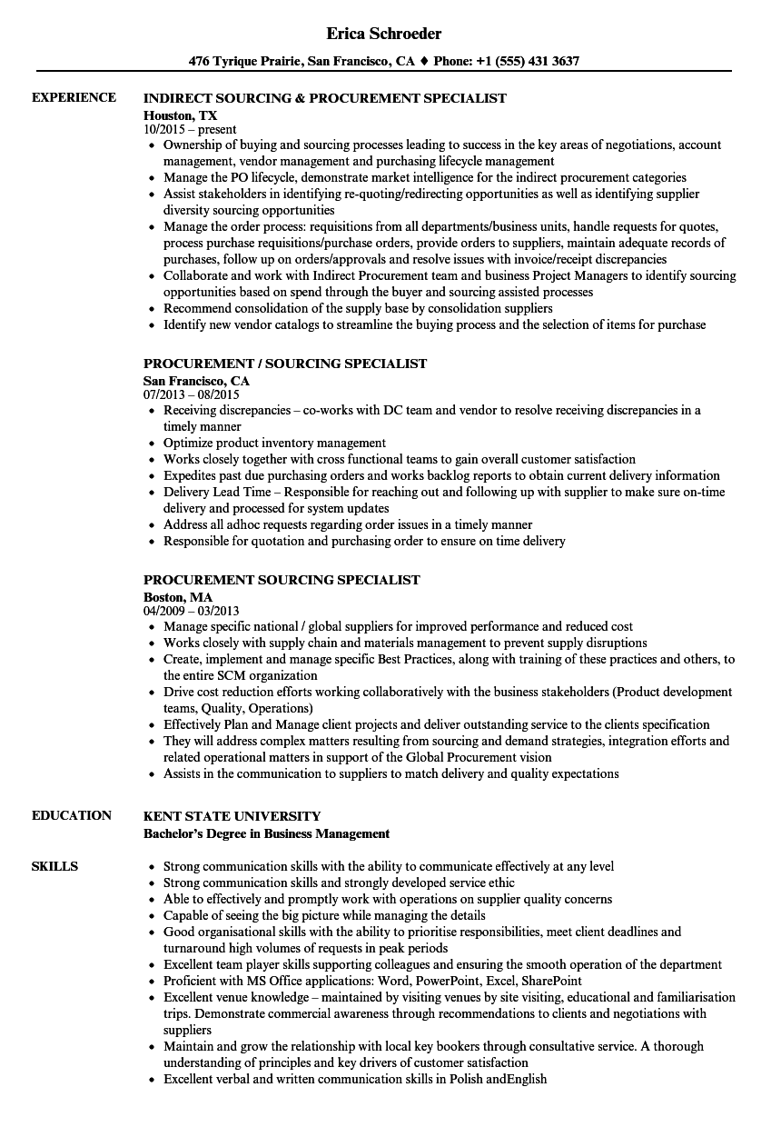 Procurement Sourcing Specialist Resume Samples | Velvet Jobs