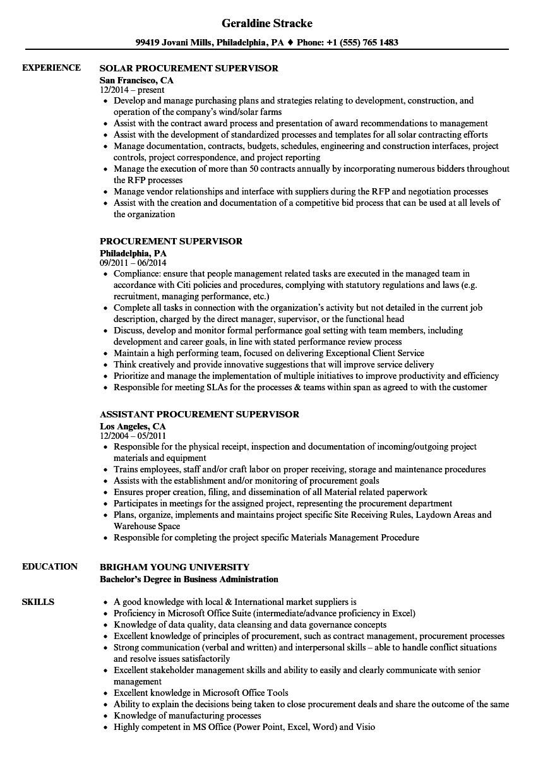 Procurement Supervisor Resume Samples Velvet Jobs