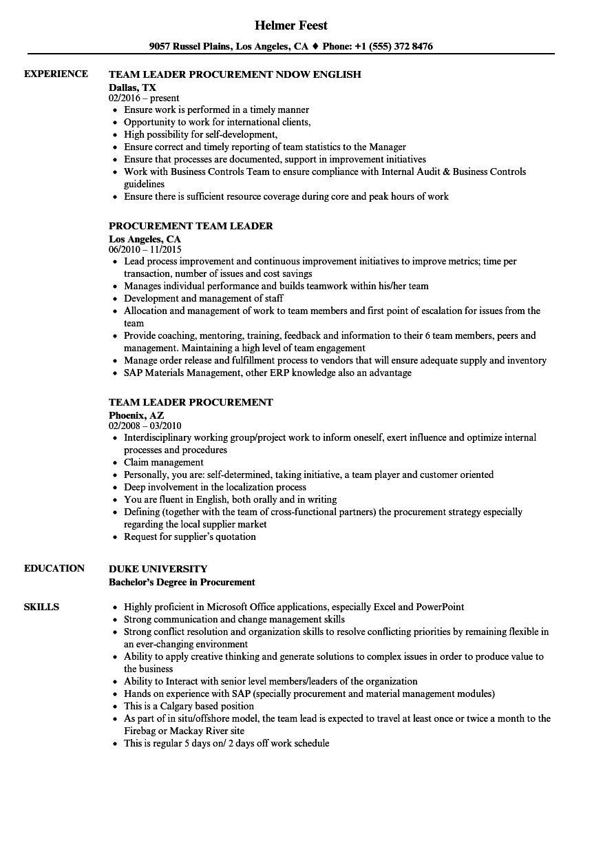 download procurement team leader resume sample as image file