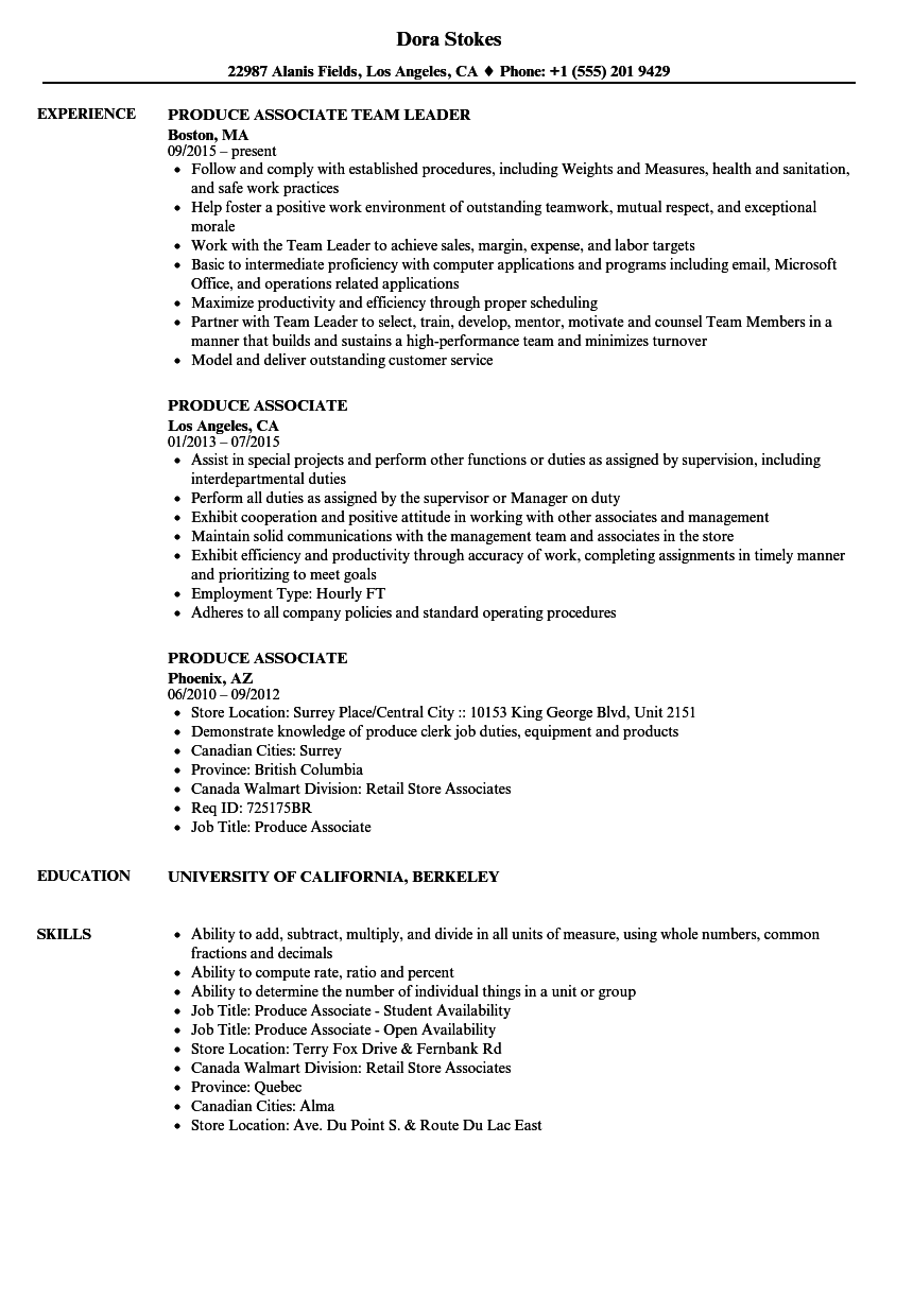 Produce Associate Resume Samples Velvet Jobs