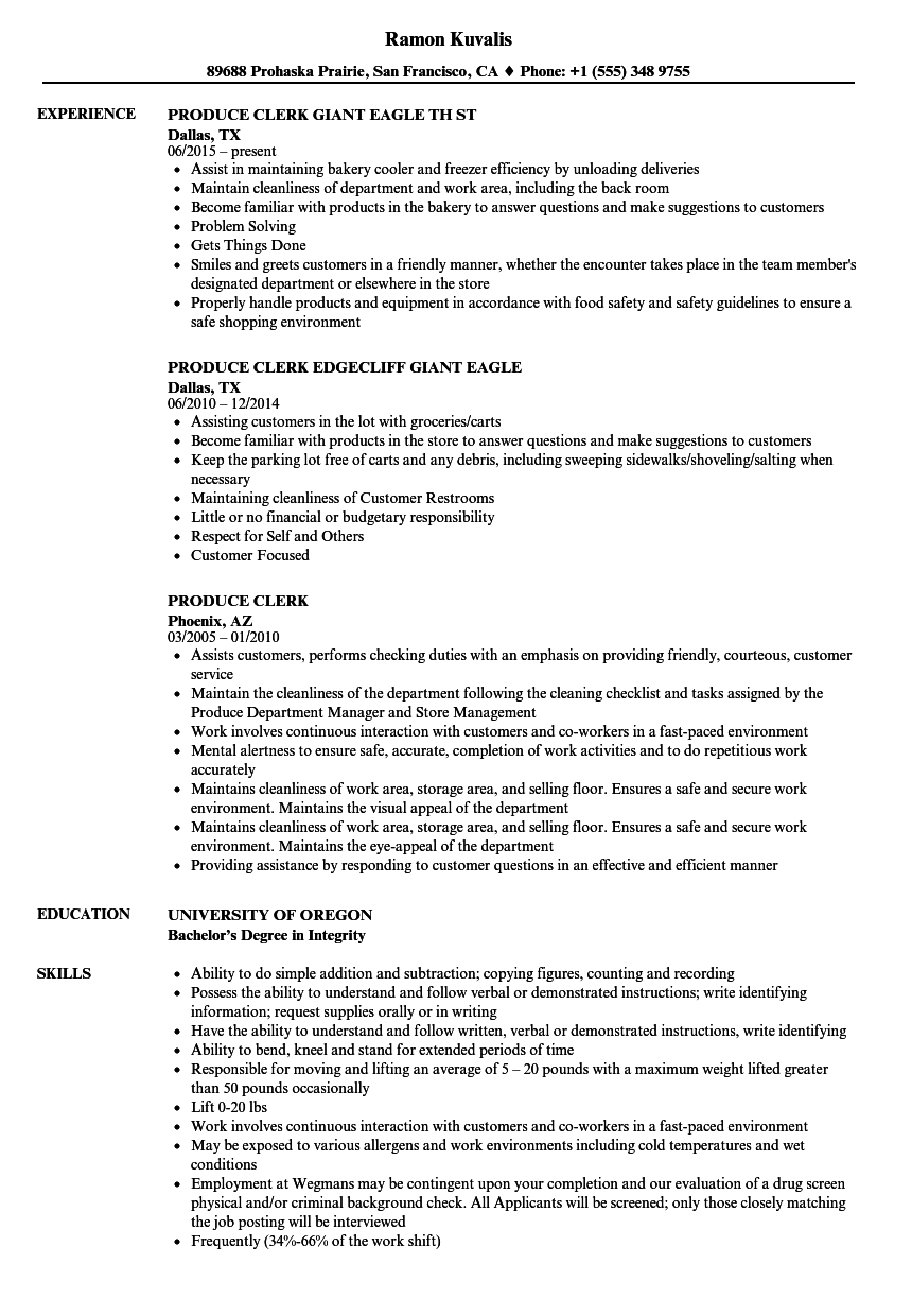 Produce Clerk Resume Samples | Velvet Jobs