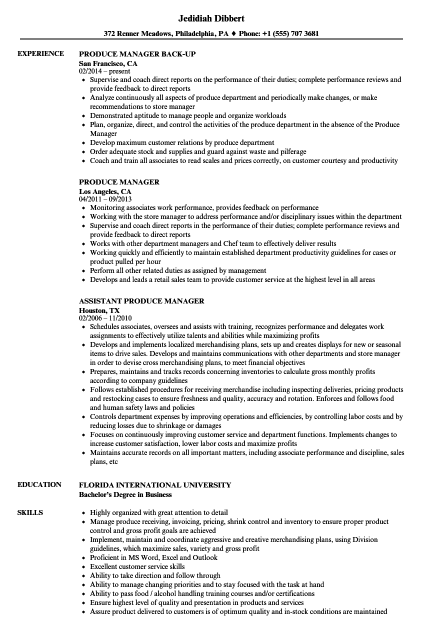 Produce Manager Resume Samples Velvet Jobs