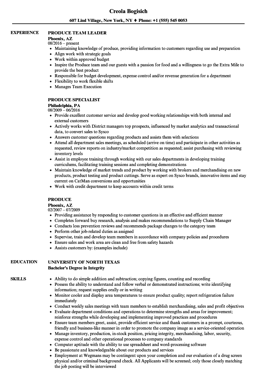 Produce Resume Samples Velvet Jobs