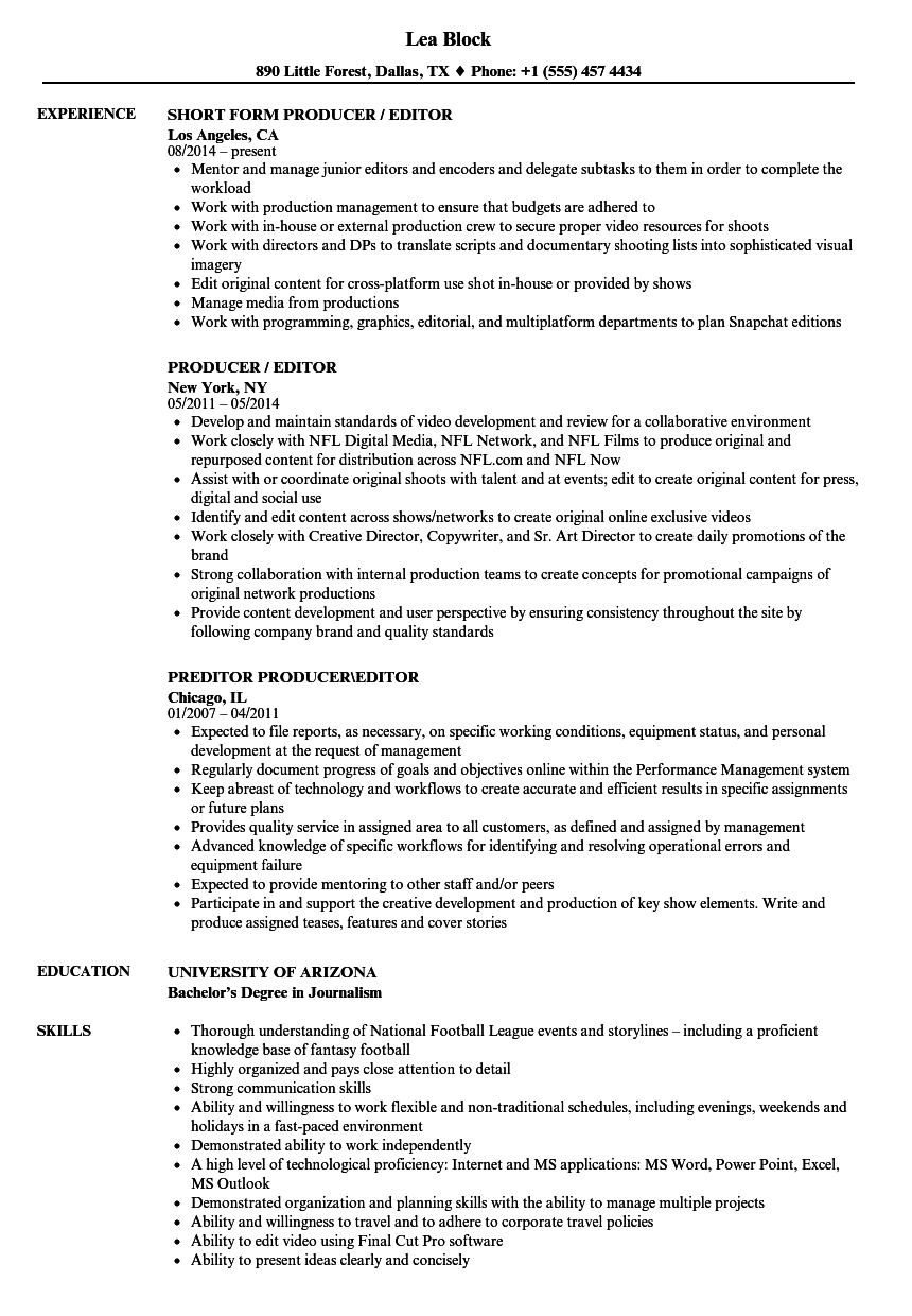 producer    editor resume samples