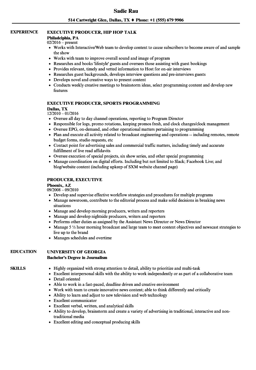 Sample Resume Executive Producer