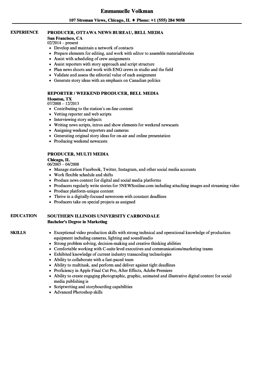 Producer Media Resume Samples Velvet Jobs