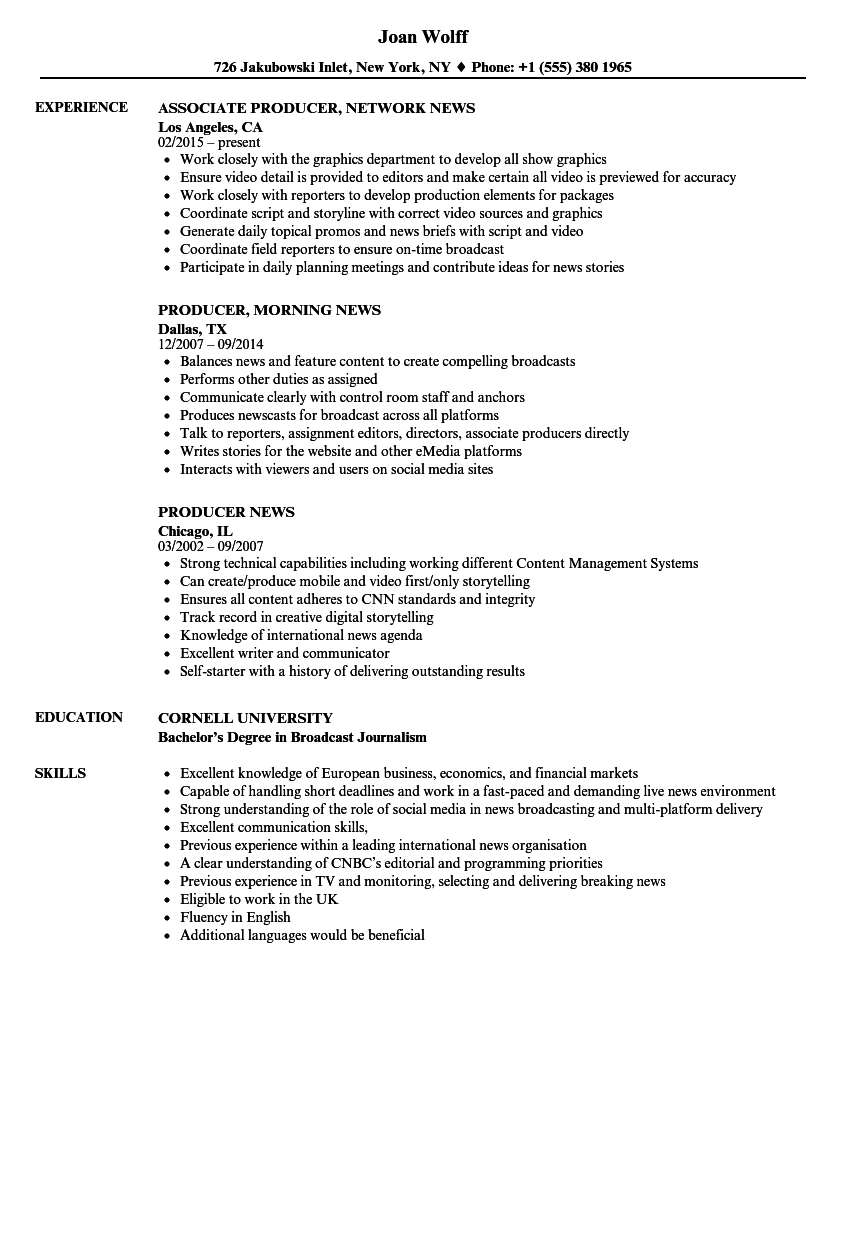 Producer News Resume Samples | Velvet Jobs