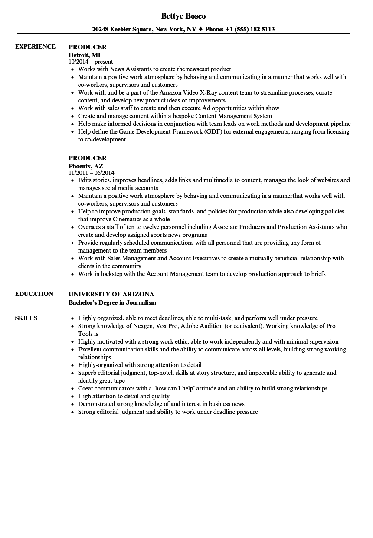 Producer Resume Samples | Velvet Jobs