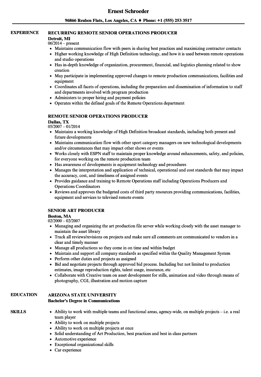 Producer  Senior Resume Samples