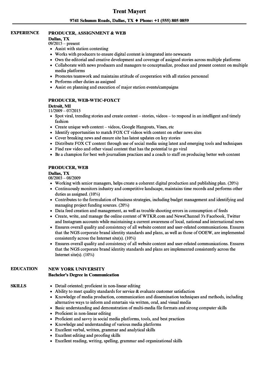 producer  web resume samples