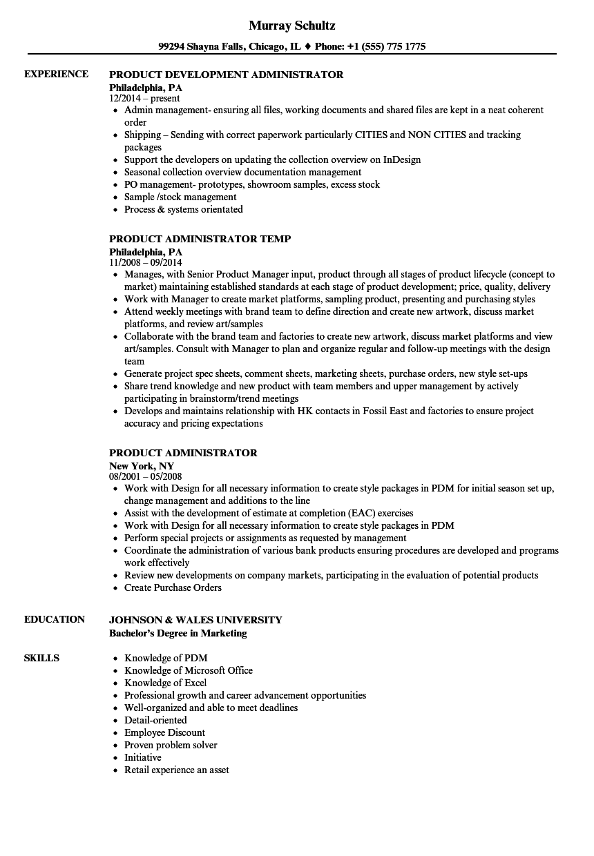 Download Product Administrator Resume Sample As Image File  Admin Resume Examples