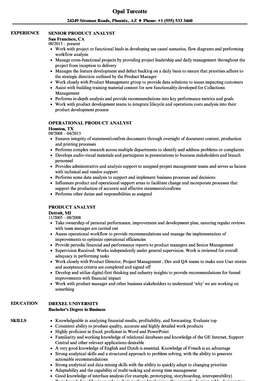 Product Analyst Resume Samples | Velvet Jobs