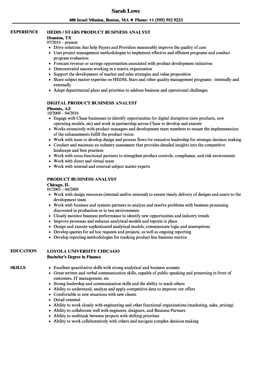 product business analyst resume samples