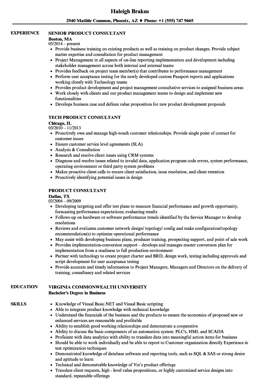 product consultant resume samples