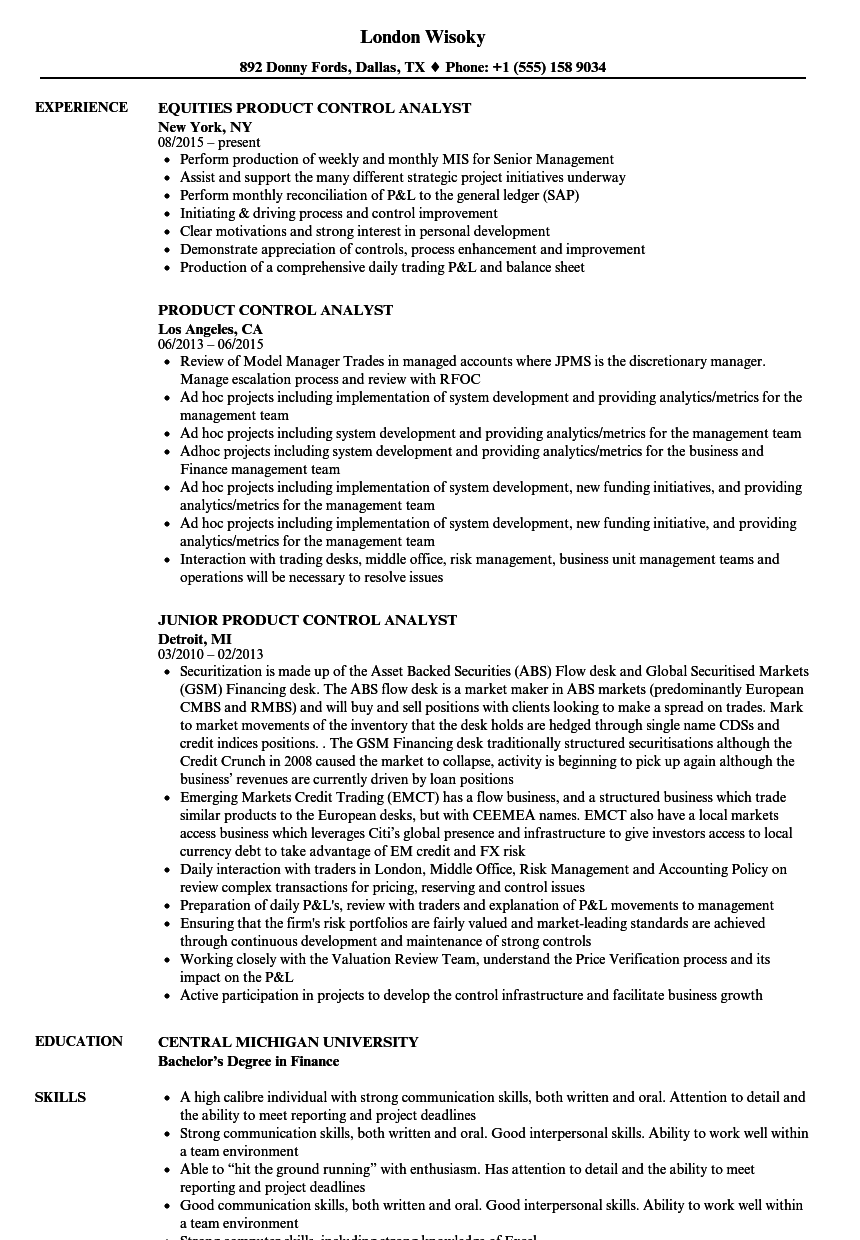 product control analyst resume samples