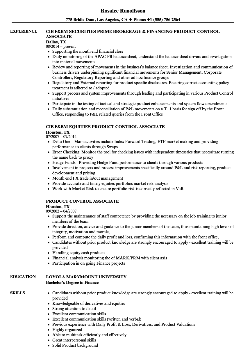 product control associate resume samples