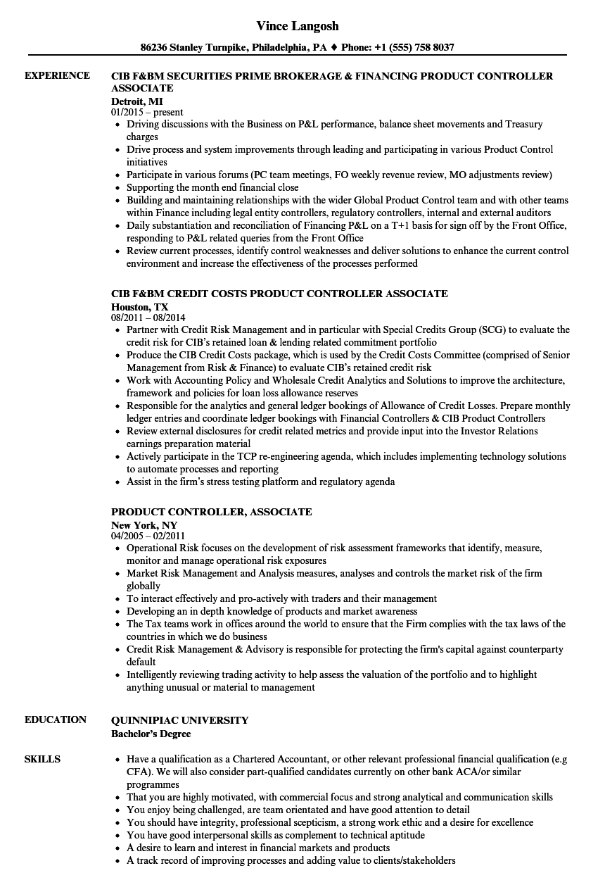 Product Controller Associate Resume Samples Velvet Jobs