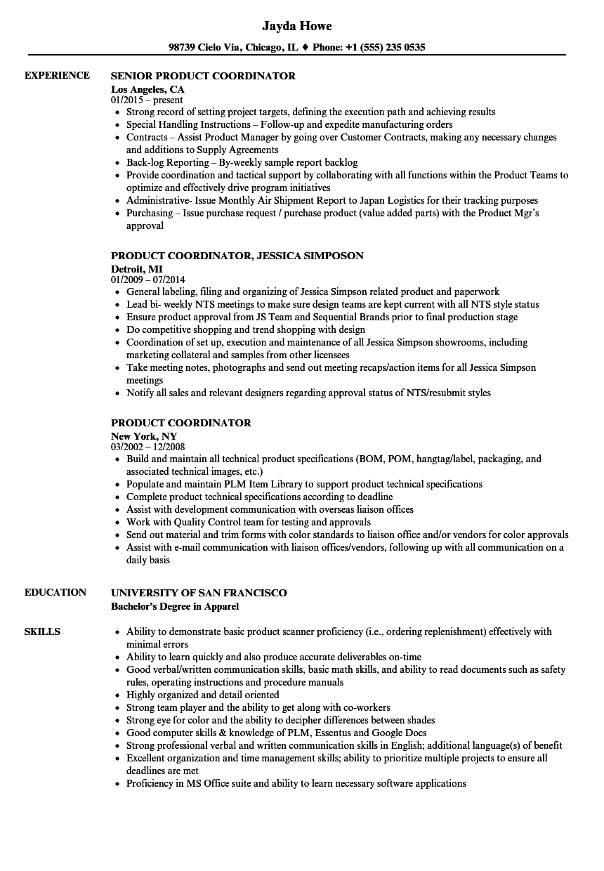 Product Coordinator Resume Samples Velvet Jobs