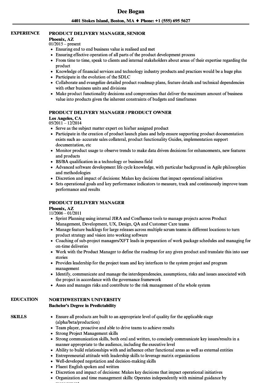 Product Delivery Manager Resume Samples   Velvet Jobs